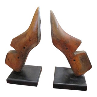 One Pair of Charming Wooden Shoe Moulds Mounted as Bookends For Sale