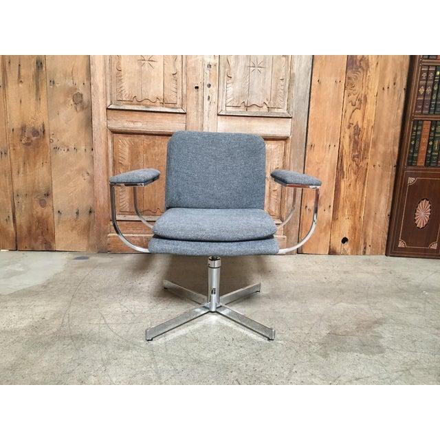 Mid-Century Modern Fortress Blue Upholstered Chrome Swivel Desk Chair - Image 10 of 10