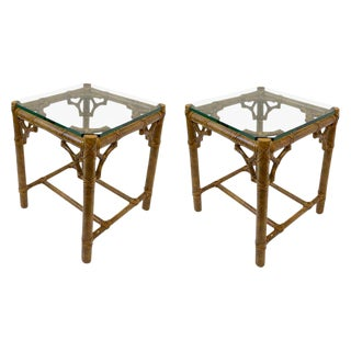 Pair of Bamboo and Glass Petite Side Tables by McGuire For Sale