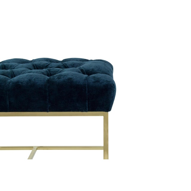 Brass 1950s Modern Tufted Brushed Brass Stools - a Pair For Sale - Image 7 of 12