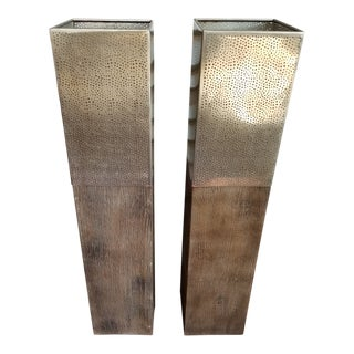 Modern Metal Candle Holders - a Pair