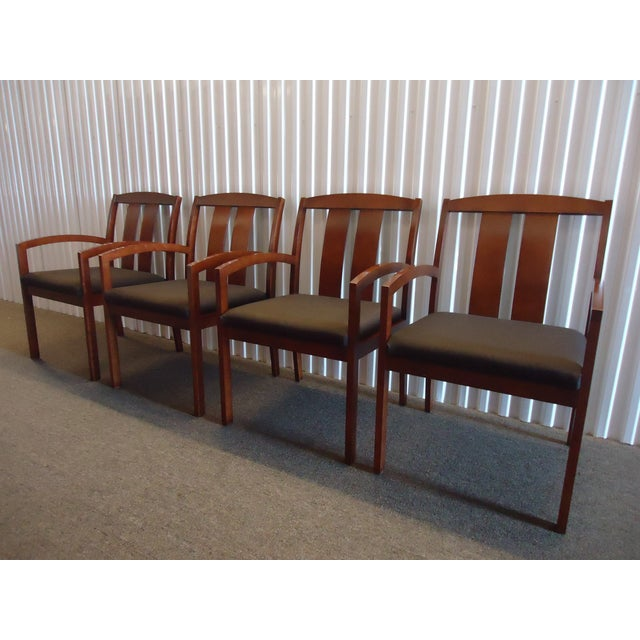 Danish Modern Kimball Dining Arm Chairs With Brown Fabric - Set of 4 For Sale - Image 3 of 13