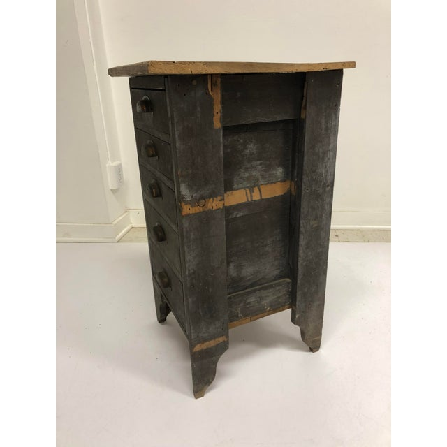 Gold Vintage Industrial Wood 5 Drawer Vertical File Cabinet For Sale - Image 8 of 13