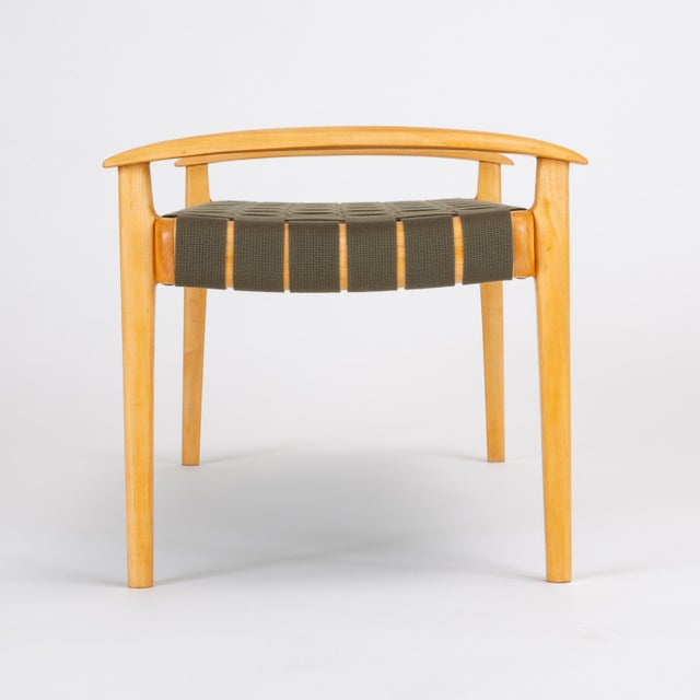Wood American-Made Maple Bench With Woven Seat by Tom Ghilarducci For Sale - Image 7 of 13