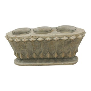 Oval Concrete Votive Holder With Tea Lights For Sale