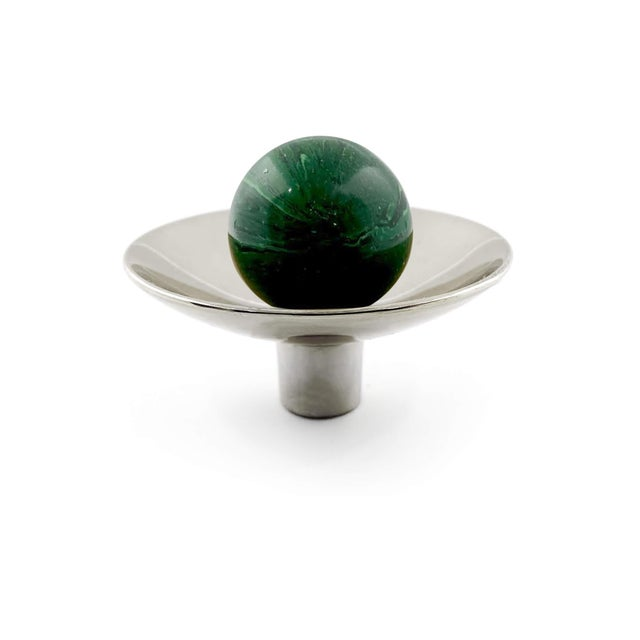 Art Deco Addison Weeks Gibson Knob, Nickel & Malachite For Sale - Image 3 of 4