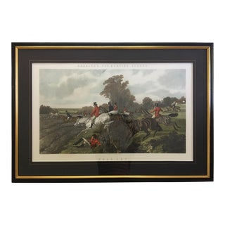 "Vintage Hand-Tinted Herring Fox Hunt Print ""Full Cry"" Engraved by J. Harris For Sale"