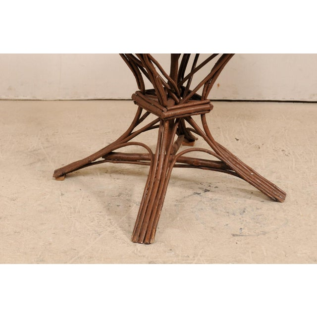 Mid-Century Modern 20th Century Swedish Wood Twig and Reed Oval Side Table For Sale - Image 3 of 12
