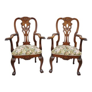 Early 20th Century Vintage Mahogany Chippendale Style Armchairs - a Pair For Sale