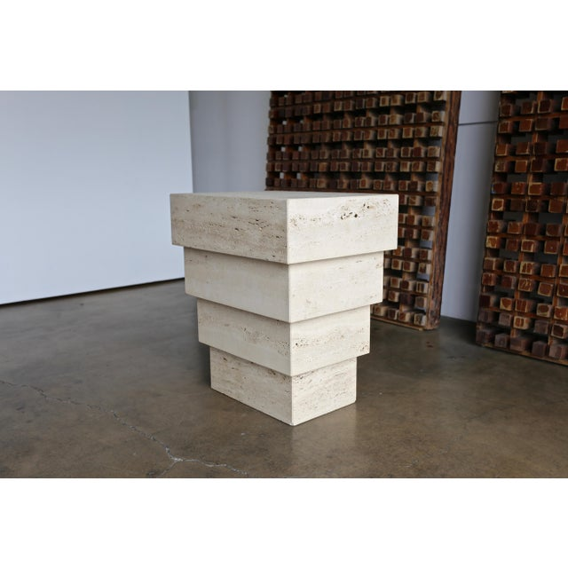 Mid-Century Modern Sculptural Modernist Travertine Pedestal For Sale - Image 3 of 8