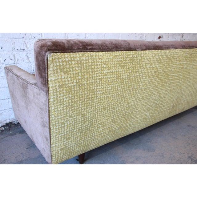 Baker Furniture Mid-Century Tufted Brown Velvet Sofa For Sale - Image 10 of 12