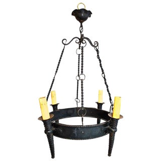 French Hand Made Wrought Iron Chandelier For Sale