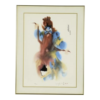"Chinese Artist Wang Lan Limited Edition Signed & Numbered Lithograph Entitled ""Red Beard"" For Sale"