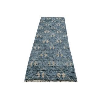 Moroccan Arya Brice Blue/Ivory Wool Rug - 2'8 X 8'5