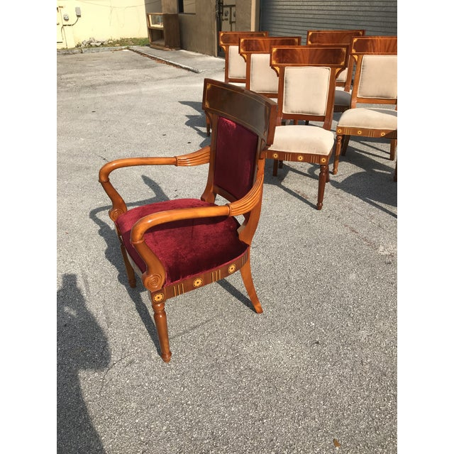 Mahogany 1910s Vintage Biedermeier Style Flame Mahogany Dining Chairs- Set of 8 For Sale - Image 7 of 13