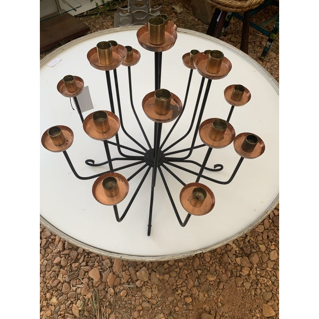 Metal 1950s Mid Century Copper Brass and Iron Candle Holder Centerpiece For Sale - Image 7 of 7