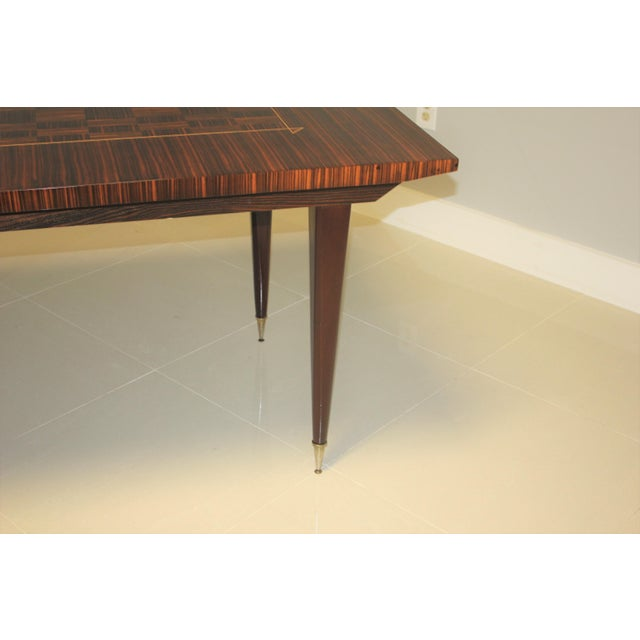 1940s Art Deco Exotic Macassar Ebony Writing Desk/Dining Table For Sale - Image 10 of 13