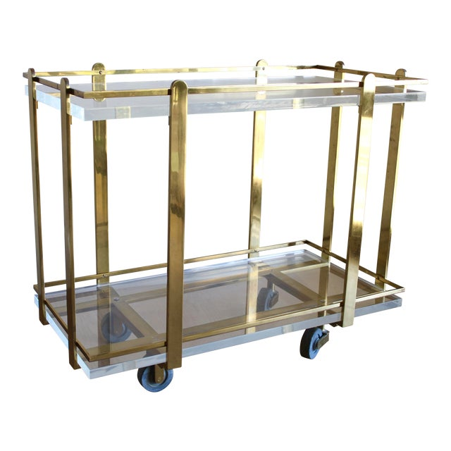 Extremely Rare Karl Springer Custom Ordered Mid Century Modern Heavy Brass and Lucite Bar Serving Cart Table For Sale