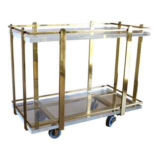 Karl Springer Custom Mid Century Modern Heavy Brass and Lucite Bar Serving Cart For Sale
