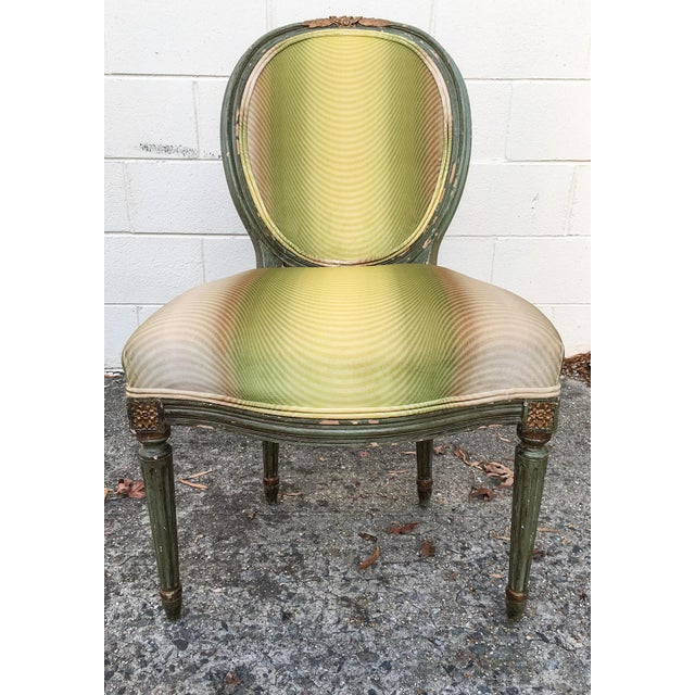 Vervain 19th Century French Fauteuil Chair with Green Ombre Velvet - Image 2 of 9