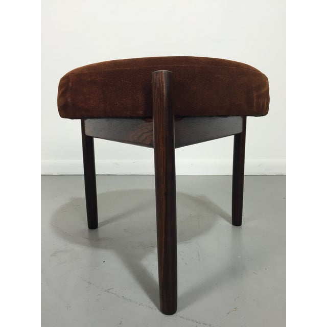Danish Suede and Rosewood Stool - Image 2 of 6