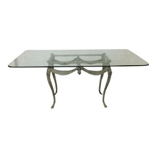 Verdigris Iron and Glass Top French Style Dining Table