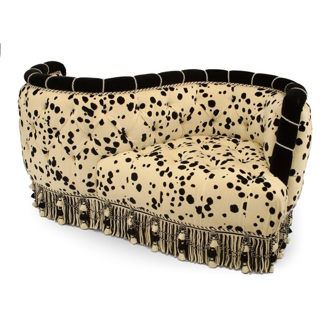 French Victorian style modern)tufted upholstered velvet tete-a-tete with dalmatian design fabric and fringe at the base