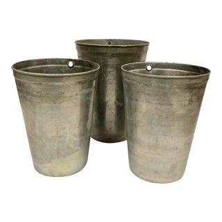 1950s Mid-Century Commercial Zinc Florist Vases - Set of 3 For Sale