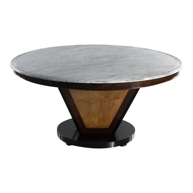 Large Deco Inspired Italian Marble Table With Custom Made Base For Sale