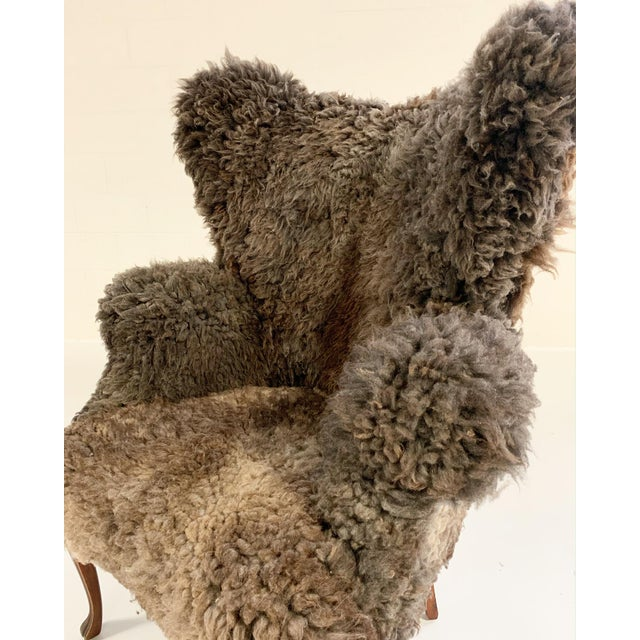 Vintage Nick Cave Wingback Armchair Restored in California Sheepskin For Sale - Image 9 of 11
