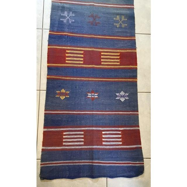 "Moroccan Cactus Silk Flat Weave Kilim Runner Rug - 25"" x 108"" - Image 3 of 11"