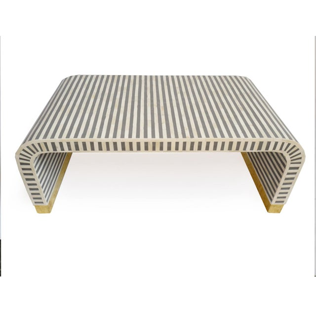 Contemporary Inlay Striped Waterfall Coffee Table For Sale - Image 3 of 5