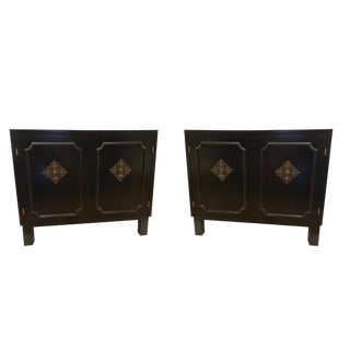 20th Century Boho Chic Black Chests - a Pair For Sale