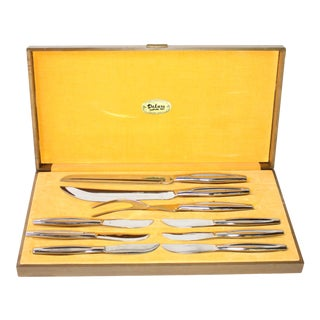 Mid-Century Kaysons Stainless Steel Carving Cutlery Gift Set - 9 Pieces For Sale