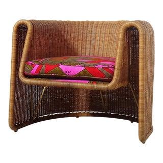 Sculptural Eero Aarnio Metal and Wicker Chair, 1960s. For Sale