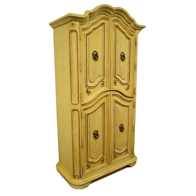 Italian 20th Century Italian Tuscan Stanley Furniture Painted Cream Clothing Armoire For Sale - Image 3 of 12