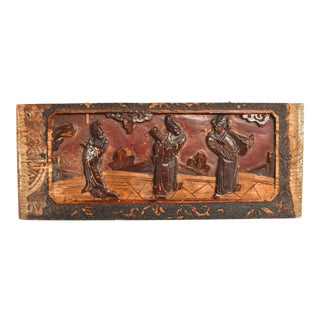 19th Century Wood Carving With 3 Scholars For Sale