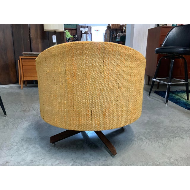 100% Original, this great havana chair is covered in a rich mustard tweed. Makes a great statement to any home!