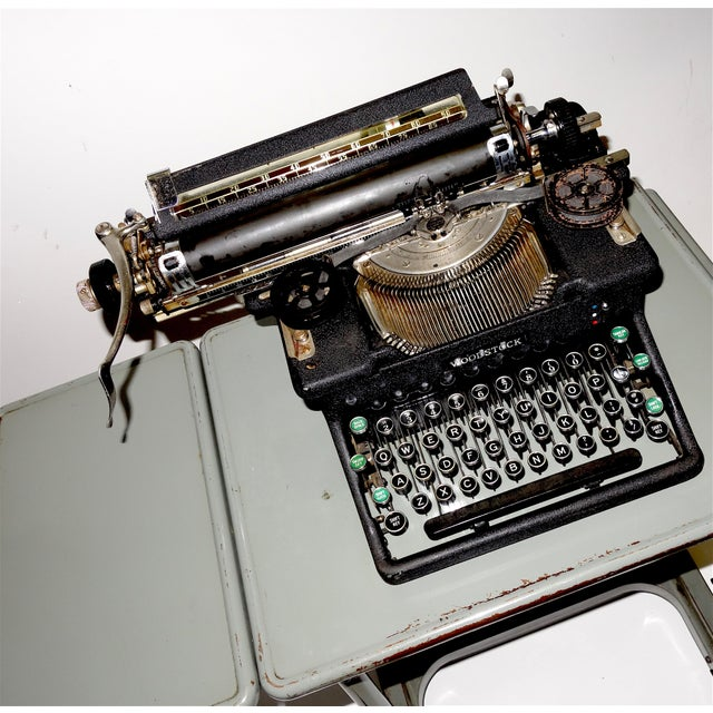 Early 20th Century Early 20th Century Typewriter, on Steel Dual Drop Leaf Rolling Typewriter Table For Sale - Image 5 of 11
