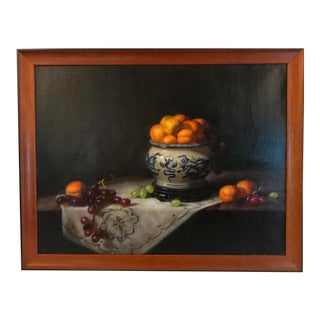 Oil on Canvas Fruit Still Life For Sale