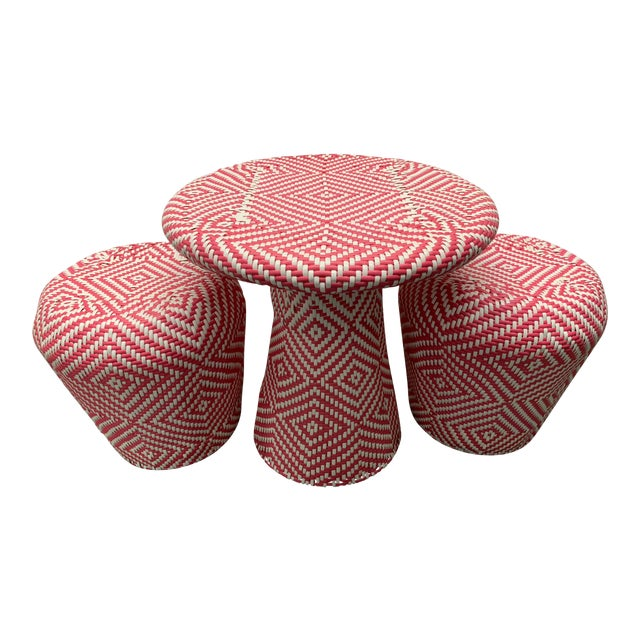 Serena & Lily Coco Woven Play Table and Stools - Set of 3 For Sale