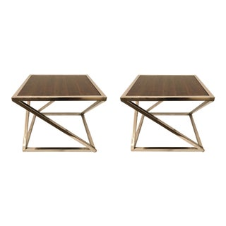 Organic Modern Interlude Home Wood and Chrome Side Tables Pair For Sale
