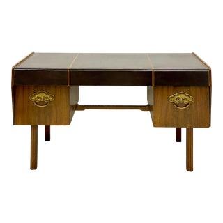 Bert England for Widdicomb Leather, Bronze & Walnut Modern Desk For Sale