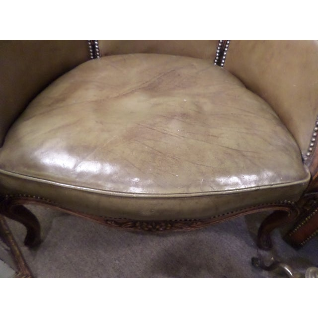 Brown Louis XV Style Carved Beechwood & Leather Porter Chair For Sale - Image 8 of 12