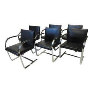 Mid 20th Century Ludwig Miles Van Der Rohe Brno Leather Dining Armchairs for Knoll - Set of 6 For Sale