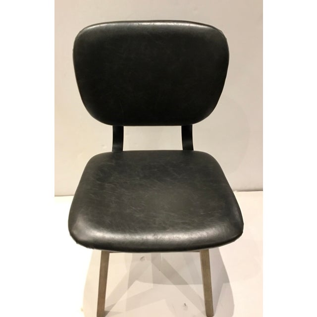 Industrial Modern Black Faux Leather Side Chair/Desk Chair For Sale - Image 4 of 7