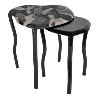 Camouflage-Pattern Inlaid Nesting Side Table in Shagreen & Shell by R&y Augousti For Sale