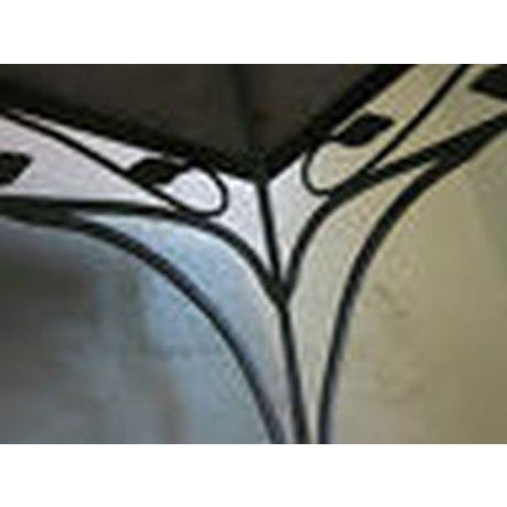 Salterini Square Ornate Iron Marble Top Patio Outdoor Dining Table For Sale - Image 11 of 12