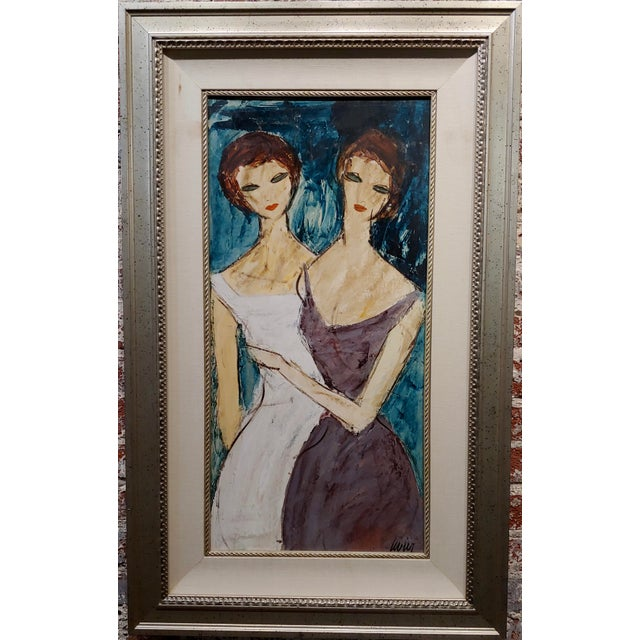 "Charles Levier - Two Girlfriends -Oil painting -c1960s oil painting on board -Signed circa 1960s frame size 24 x 39"" board..."