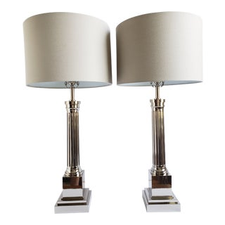 Contemporary Chrome Plated Tall Table Lamps- a Pair For Sale